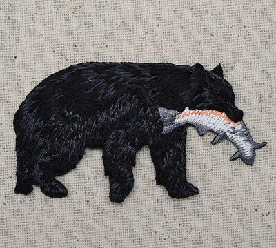 Black Bear Catching Salmon/Trout/Fish Animals Iron on Applique/Embroidered Patch