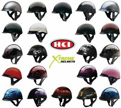 HCI 100 Half Helmet Motorcycle Shorty with Visor DOT Approved XS S M L XL 2XL