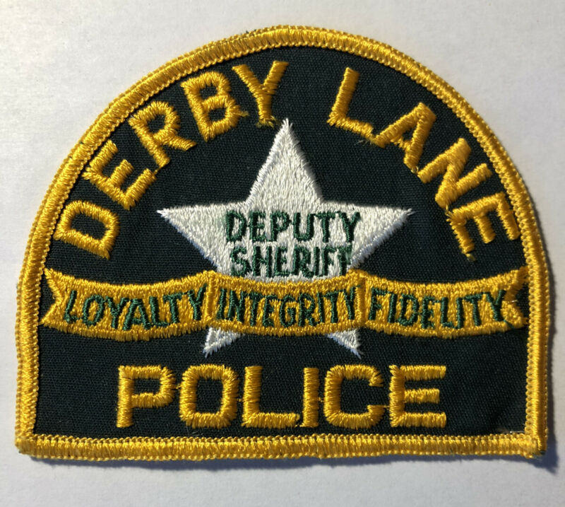 RARE Vintage Derby Lane ~ St Petersburg Florida Police Patch ~ Cheese Cloth Back