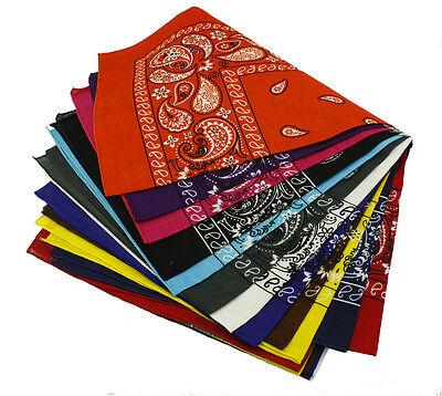 Print Bandanas (Lot Of 12 100% Cotton Paisley Print Scarf Bandanas Head Wrap Wristband)