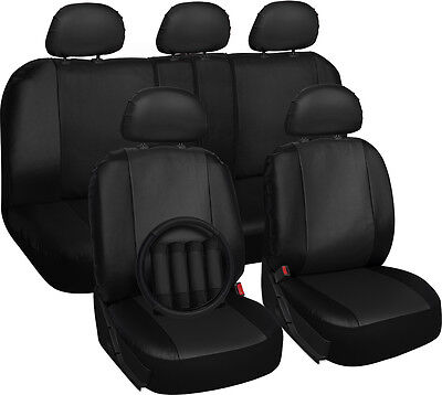 Solid Black Synthetic Leather 17pc Car Front Seat Covers for Hyundai Elantra