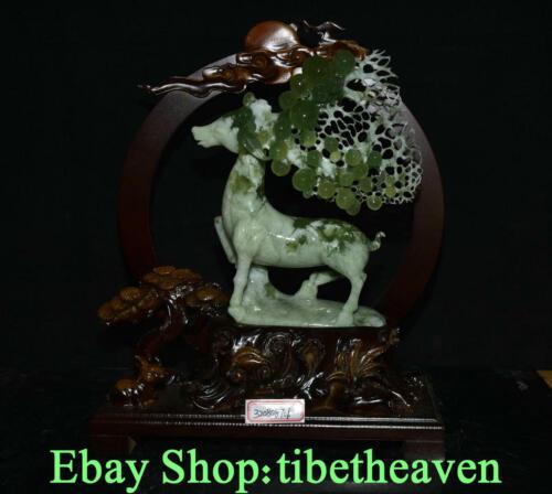"""15.6"""" Old China Xiu Jade Master Carving Deer Sika Deer Grape Longevity Statue"""