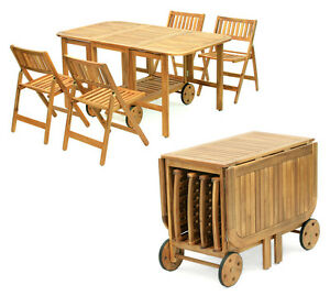 Set tavolo pieghievole legno con 4 sedie giardino piscina for Set giardino esterno
