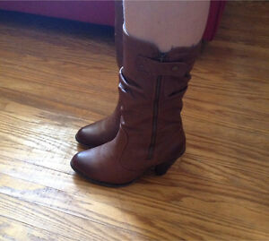 Ladies size 8 brown heeled boots from Spring