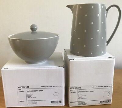 "New Lenox Kate Spad Larabee Dot Grey Creamer 6 oz & Sugar 4.5"" - Lenox Larabee Dot"
