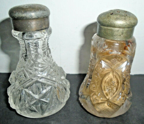 ANTIQUE CUT GLASS SALT AND PEPPER SHAKER SET 3.5""