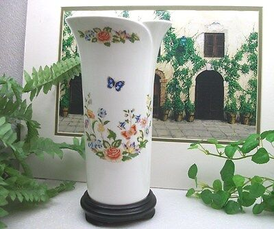 "Aynsley English Bone China  COTTAGE GARDEN  Butterfly Flower  10"" Floral Vase"