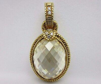 Judith Ripka 18K Yellow Gold Canary Crystal Diamond Enhancer Pendant