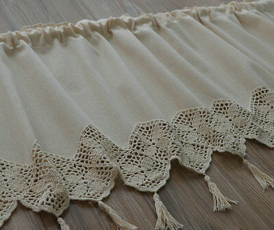 Ecru Hand Crochet Pansy Macrame Lace Kitchen Cafe Window Curtain Valance