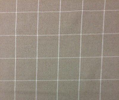 Ballard Designs Dover Linen Natural Windowpane Woven Check Fabric 6 Yards 54 W