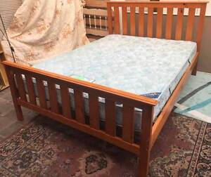 Excellent wooden queen bed frame with King Koil mattress. Delive Kingsbury Darebin Area Preview
