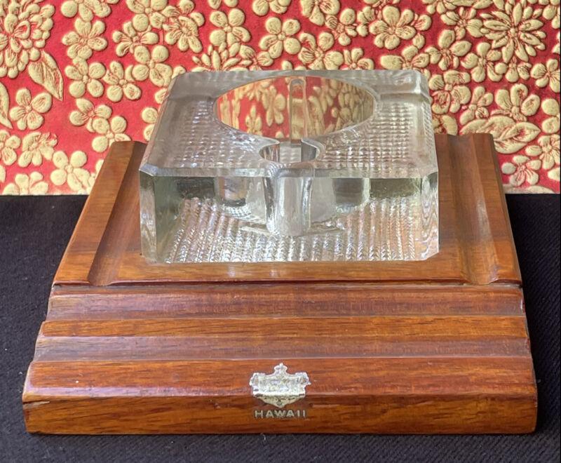 Antique Vintage HAWAIIAN CURLY KOA Ink Well Hawaii Royal Crest Rare
