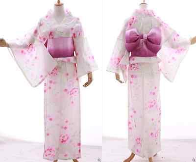 K-021A weiß rosa Blumen ORIGINAL Japan Kimono YUKATA OBI Gürtel traditionell