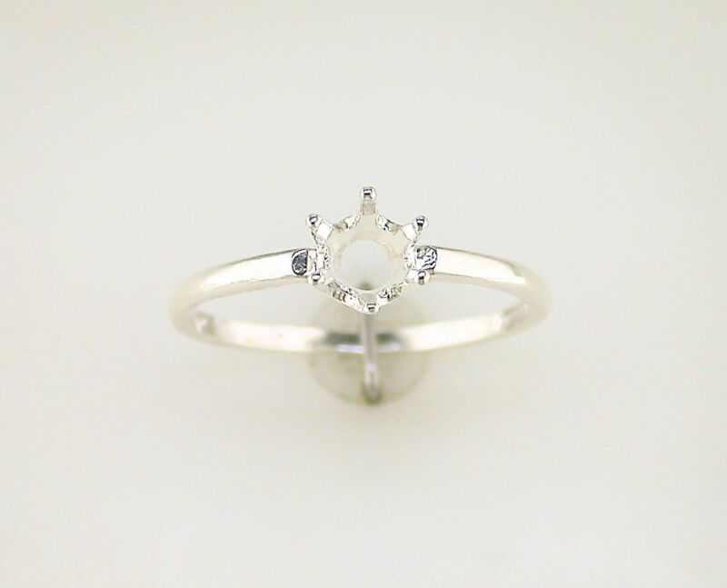 Round Solitaire Ring Setting Sterling Silver