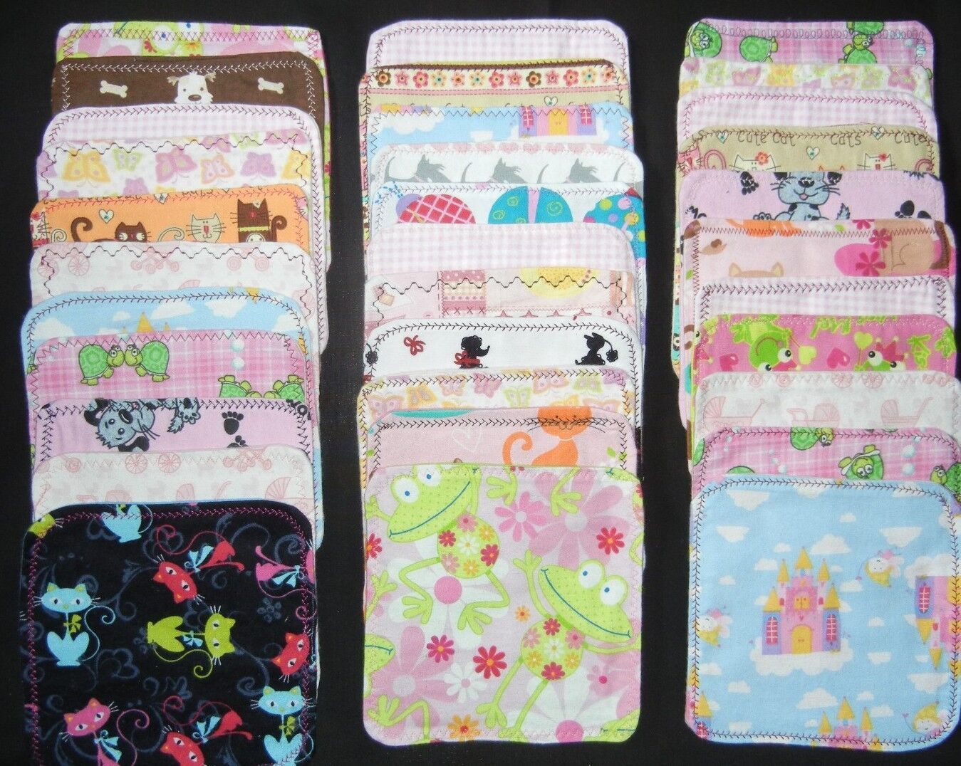 5  handmade cloth wipes/washcloths double flannel  girls