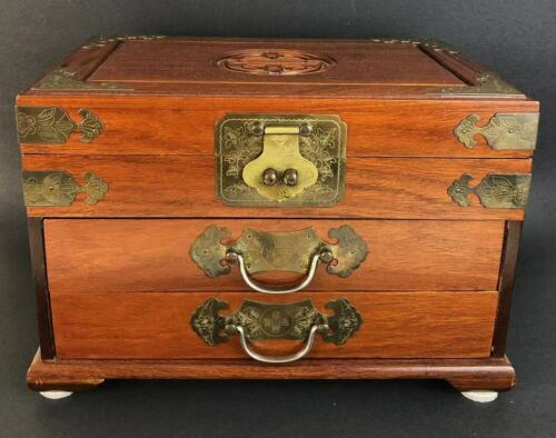 CHINESE ROSEWOOD JEWELRY BOX BY GEORGE ZEE Mid-20th C (香港红木首饰盒)