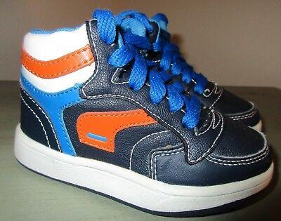 Primigi Toddler Boys Shoes - PRIMIGI Size 22 U.S. 5.5 Toddler Boys Blue Orange Leather Hi Top Zipper Shoes