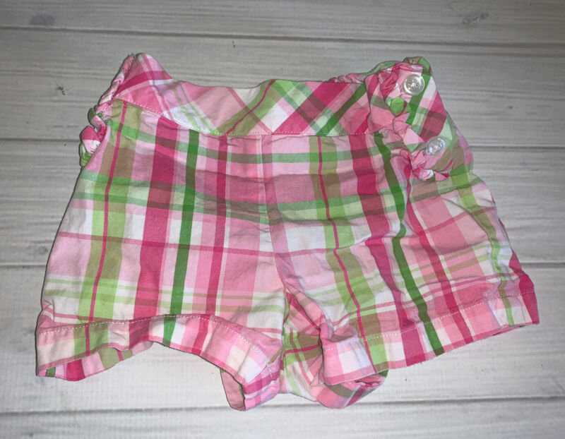 Janie And Jack Boutique Toddler Girls Shorts 2 2T Pink Green Plaid