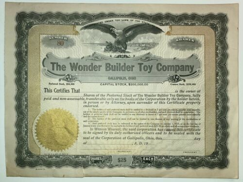 The Wonder Builder Toy Company, Gallipolis, OH - Ctf. No. 80 - Unissued - 1924