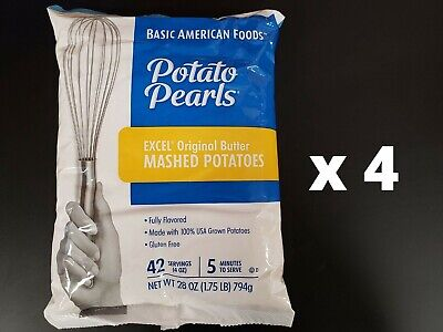 Excel Potato Pearls 4 Bags x 28oz Original Butter Mashed Potatoes Exp: 12/20