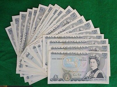 Gill Wellington Blue Five Pound £5 Banknote ( Issued 1988-1991 ) aUnc