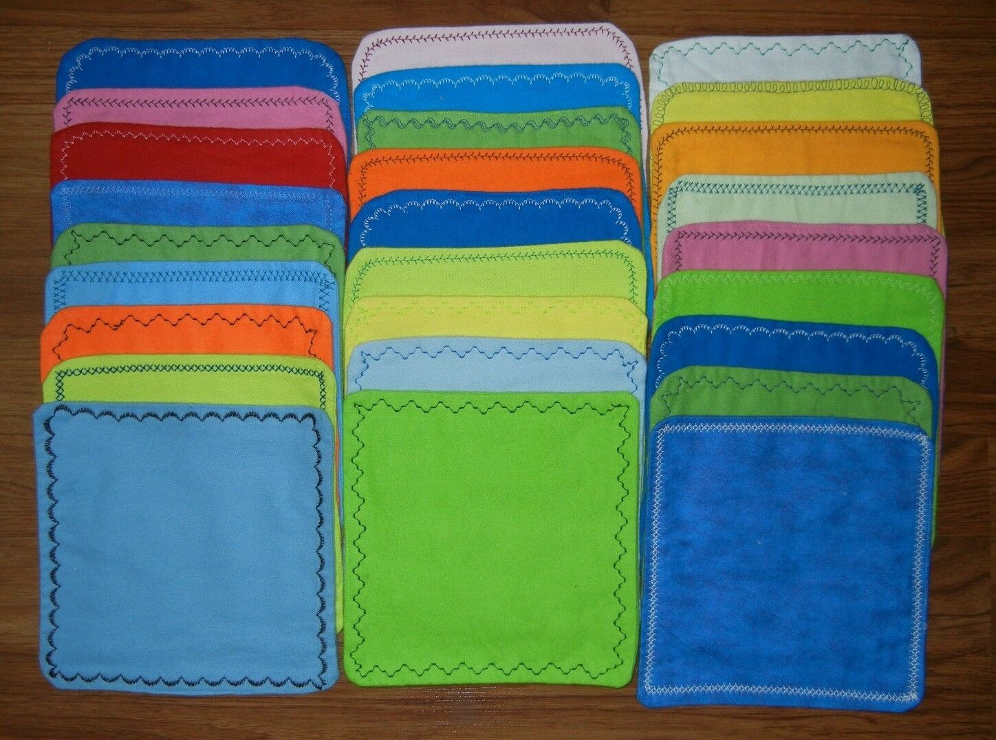 5  handmade cloth wipes/washcloths double flannel  solid color