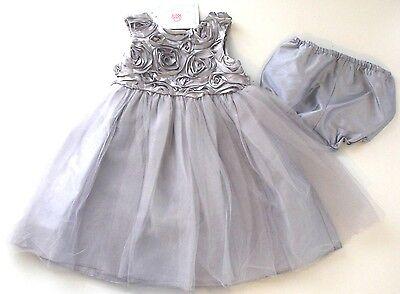 Kleid~USA~68-74~Babykleid~festlich~Mädchen~silber~Glitter~Marmelatta~Tutu~Rosen