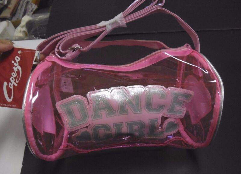 NWT Capezio Clear Pink Dance Girl Duffle Silver Glitter Lettering Hearts Zipper