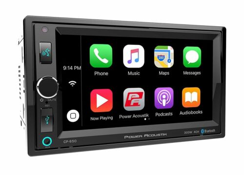 Power Acoustik Double 2 Din CP-650 Media Player Apple CarPlay Bluetooth USB AUX