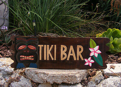 Tiki Bar Sign (Tiki Bar Tropical Plumaria Flower Island Sign Wood Hand Made 20