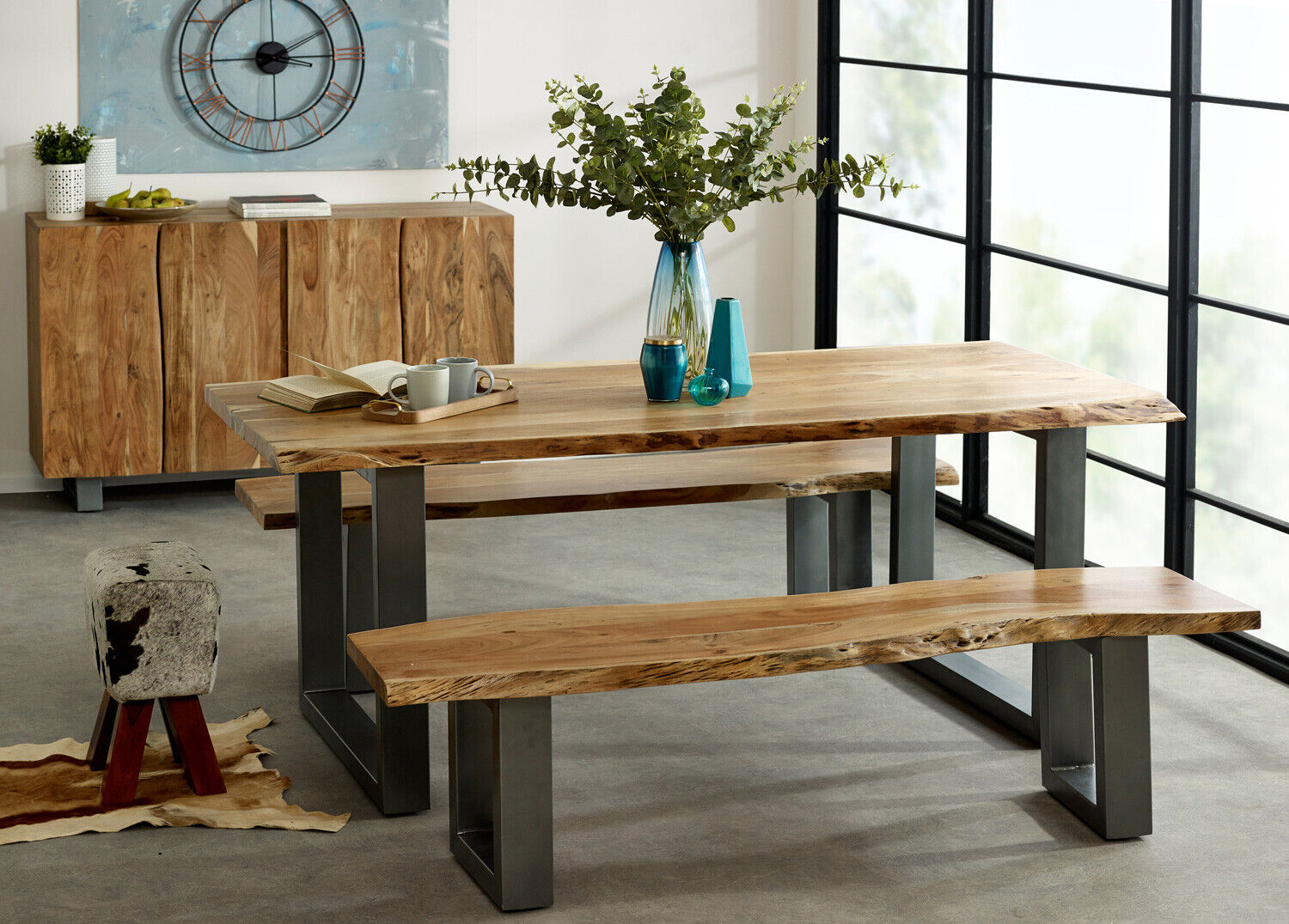 Picture of: Baltic Live Edge Dining Table 2m Solid Wood Acacia Retro Industrial Metal Legs Ebay