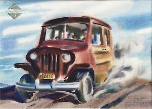 1940s WILLYS WAGON Painting by REX BRANDT, well listed!