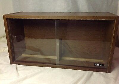 (Vintage TEAC Wood Grain Veneer CD/DVD Cassette Enclosed Storage Cabinet w/ Doors)