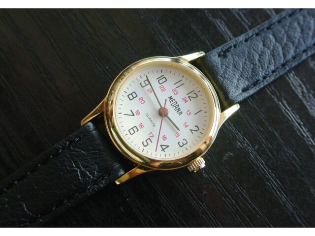 VINTAGE MEDANA 24 HR MILITARY DIAL SWISS QUARTZ WOMEN'S GOLD LEATHER WATCH *NEW*