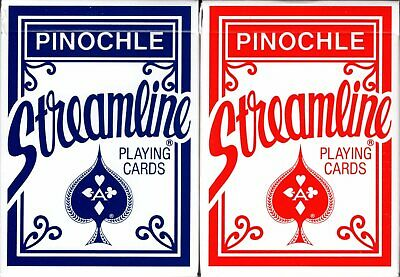 Pinochle Streamline Playing Cards 2 Deck Set Poker Size Plastic Coated USPCC -