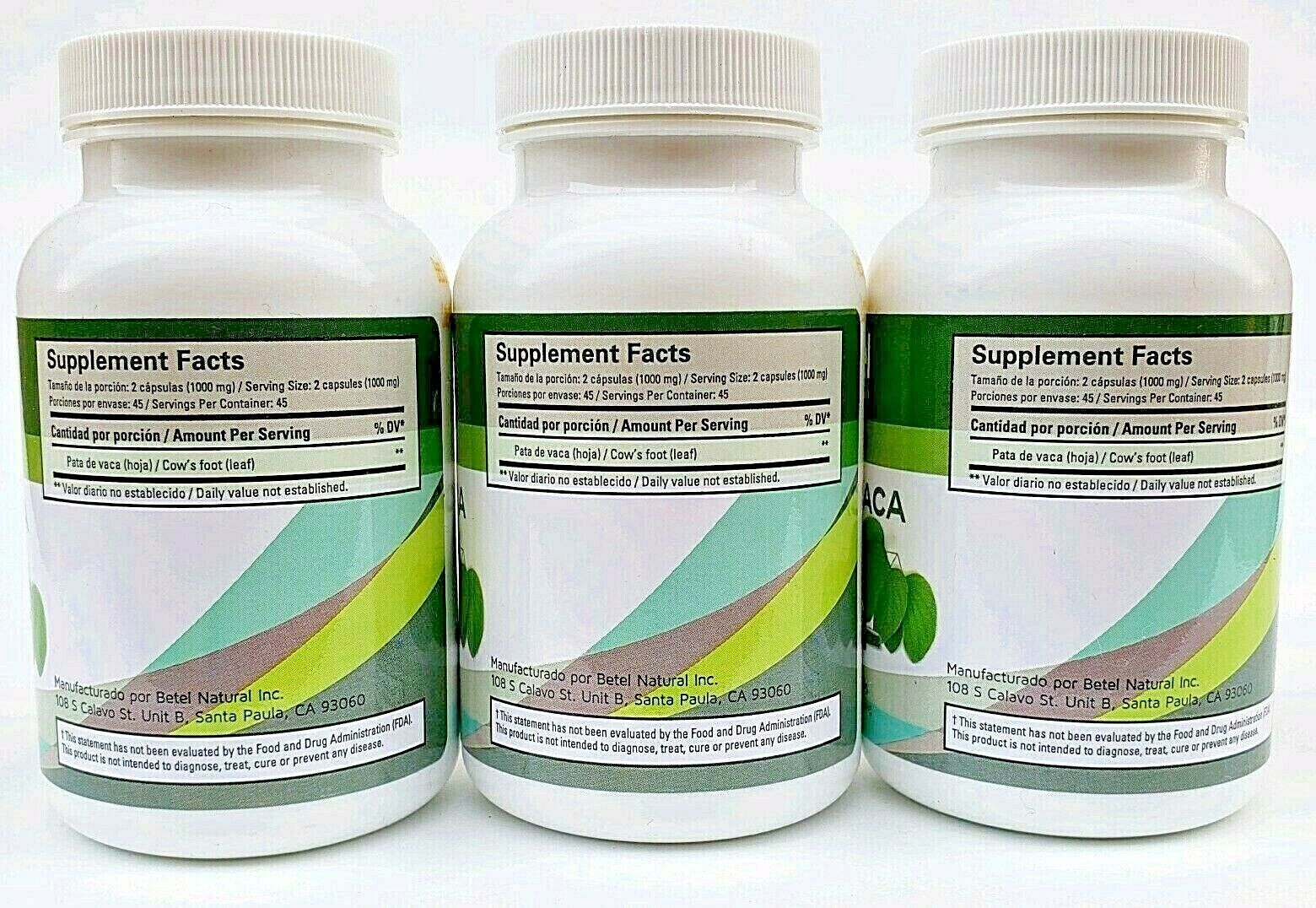 (3 Packs) PATA DE VACA (Cow's Foot) 270 Capsules 1000mg Natural Support Glucose 2