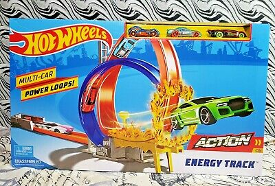 Hot Wheels Action Energy Track Multi Car Loops Age 5-7 Boy Toys Gift w/ 3 Cars