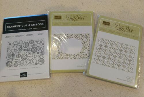 Stampin Up Embossing Folder Lot - Petal Burst, Button Button, Confetti