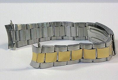 20mm Curved Oyster Style Two Tone Stainless Metal Watch Band Bracelet