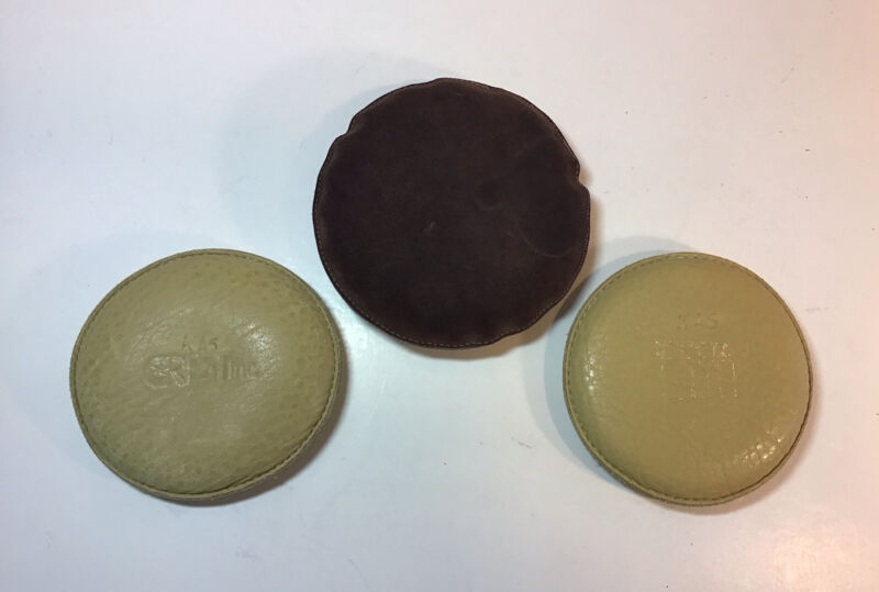 Lot of 3 Vintage Leather Drafting Weights for Drafting / Maps