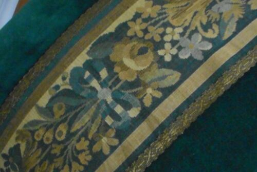 Antique French Aubusson Jacquard Verdure Gold Metallic Trim Fabric 2~ Blue Green