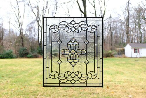 """Stunning Handcrafted All Clear stained glass Beveled window panel, 24"""" x 28"""""""