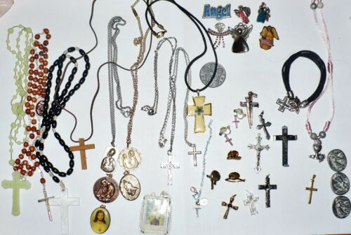 38 PIECES CHRISTIAN JEWELRY  RELIGIOUS COLLECTION LOT  TO WEAR AND/OR FOR CRAFTS