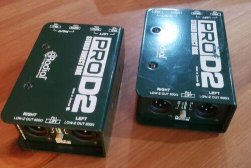 TWO (2) Radial ProD2 Passive Stereo Direct Box DI 2-channel