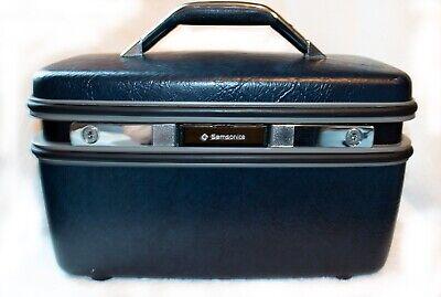 Vintage Dark Blue Samsonite Train Case Carry On Luggage w/ Tray & Mirror!