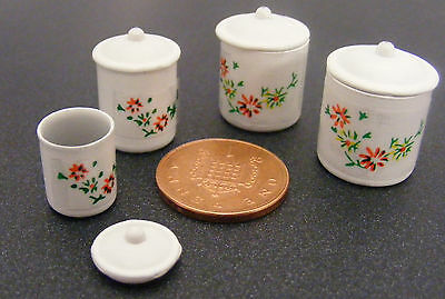 1:12 Scale Set Of 4 Metal Kitchen Storage Containers Dolls House Food Accessory