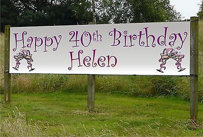 Happy Birthday Personalised Quality PVC Banners for adults 2 sizes & 4 colours