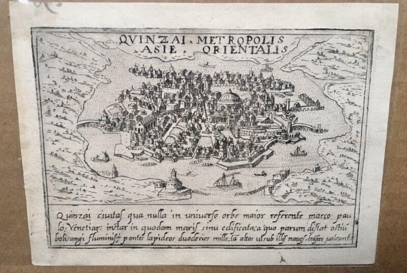 Quinzai [Hangzhou] old Map CHINA by Francesco Valegio Original-Chinese-1600