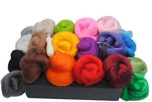 Heidifeathers-High-Quality-Needle-Felting-Kit-200g-Merino-Wool-Tops-Handle
