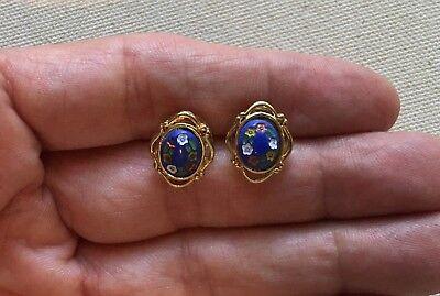 Boho Steampunk Earrings Flower Mosaic Frame Blue Gold-Tone Oval Hippie 5/8